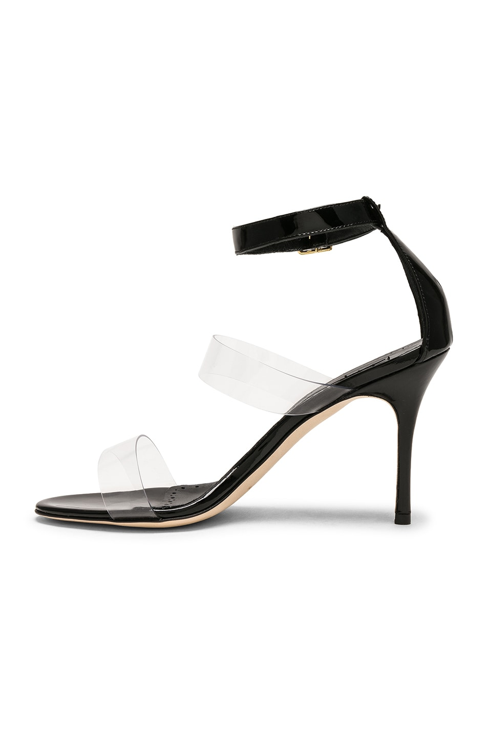 Image 5 of Manolo Blahnik Patent Leather & PVC Kaotic 90 Sandals in Black Patent & Clear PVC