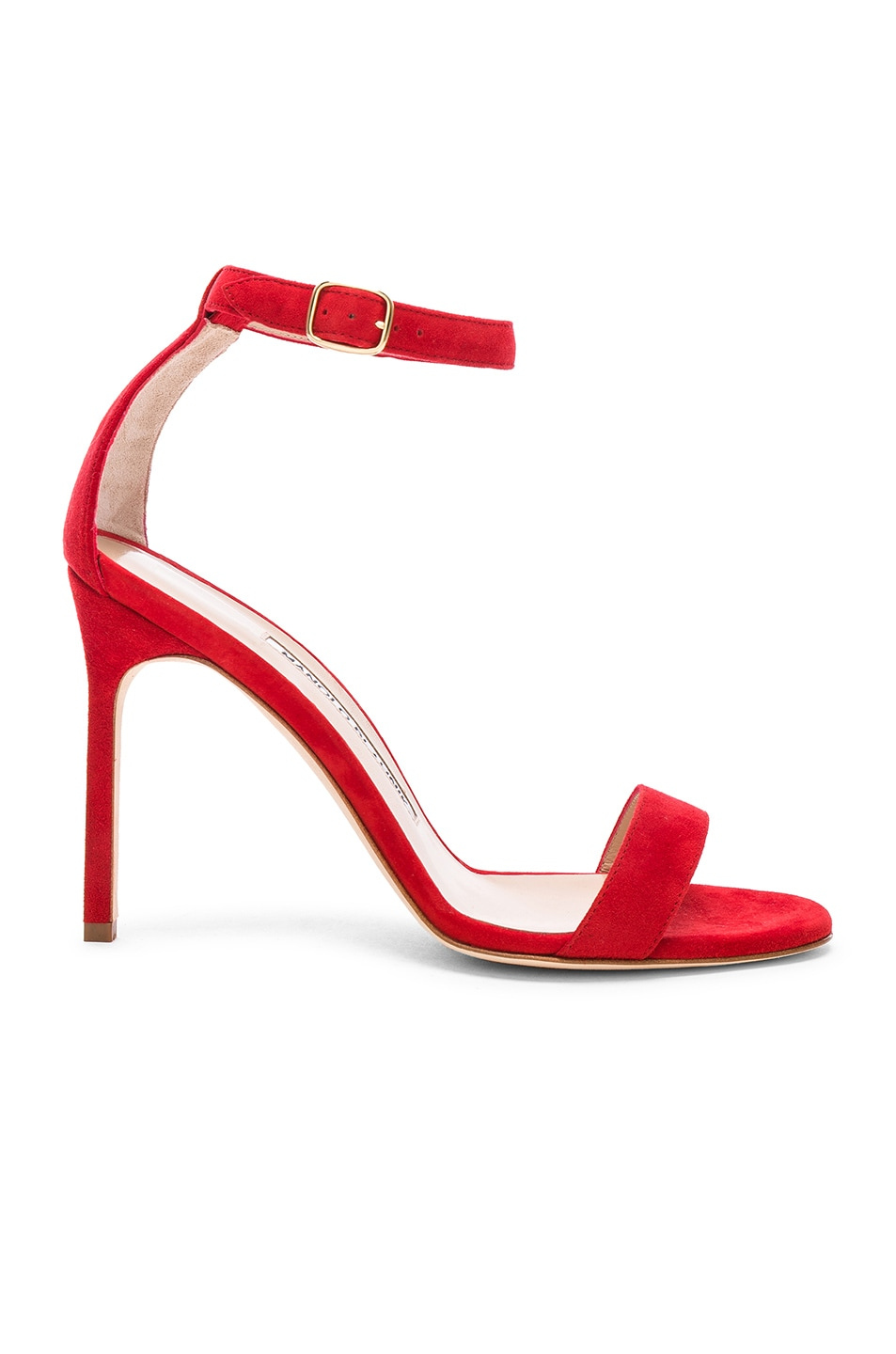 be3376e663ea4 Image 1 of Manolo Blahnik Suede Chaos 105 Sandals in Red Suede