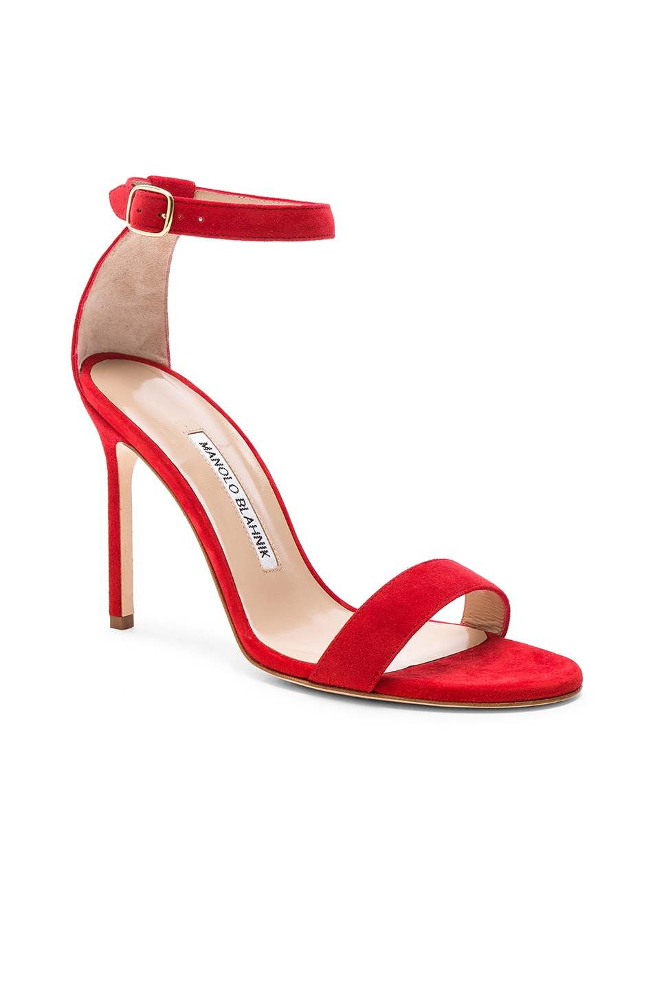 Image 2 of Manolo Blahnik Suede Chaos 105 Sandals in Red Suede