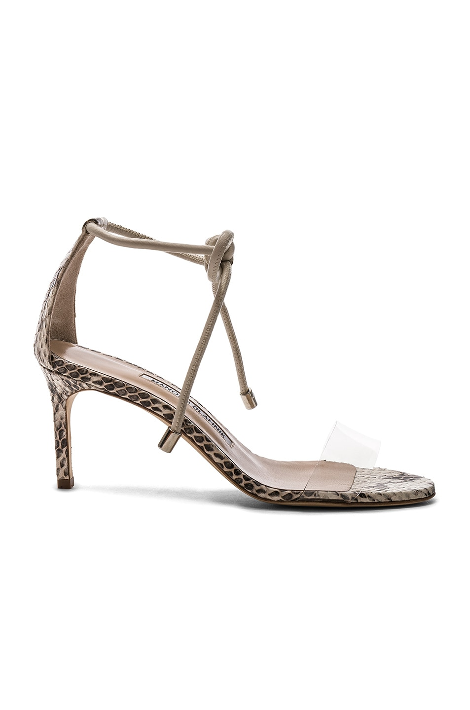 Image 1 of Manolo Blahnik Estro 70 Sandals in White & Black Natural Watersnake
