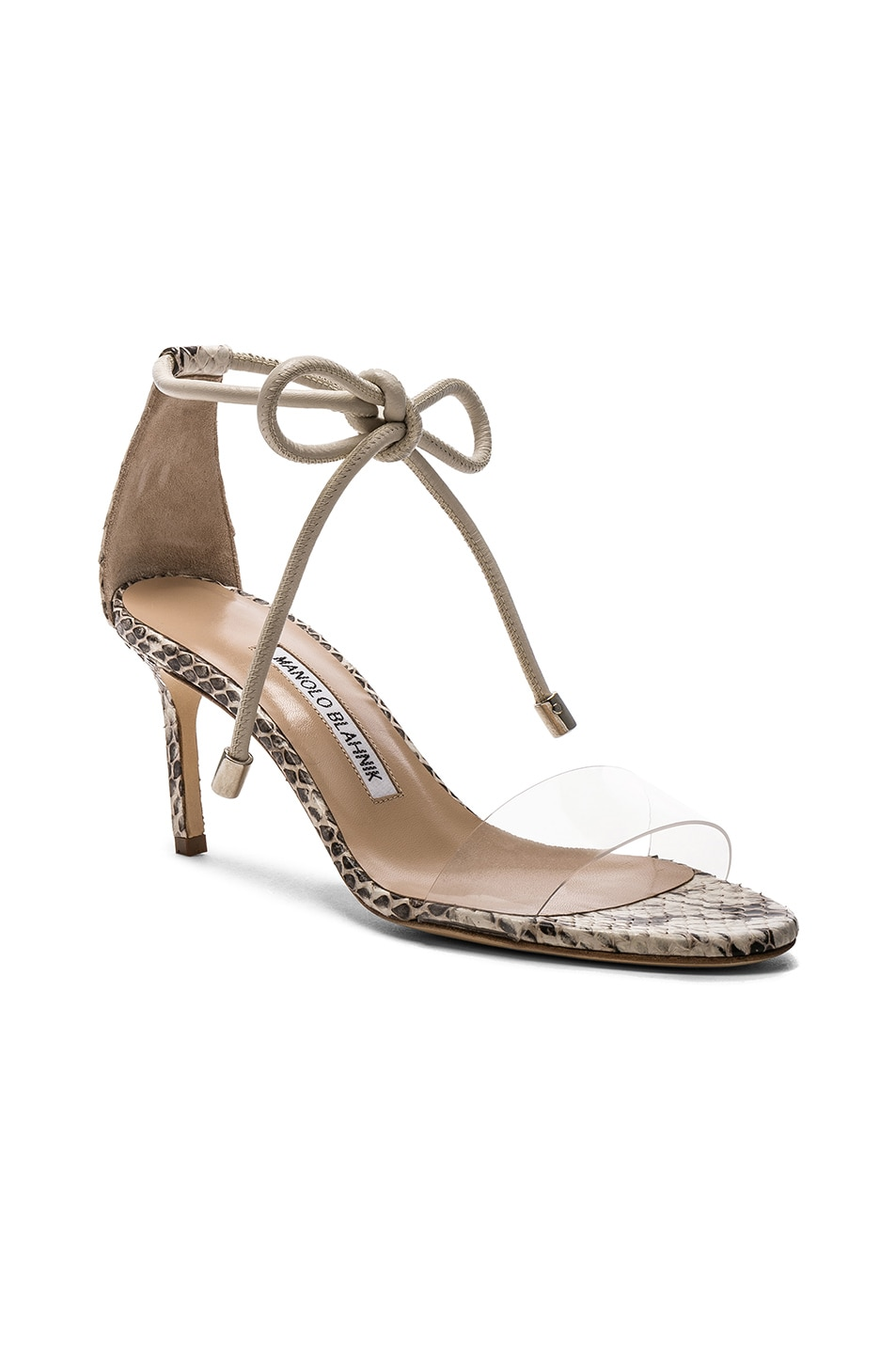 Image 2 of Manolo Blahnik Estro 70 Sandals in White & Black Natural Watersnake