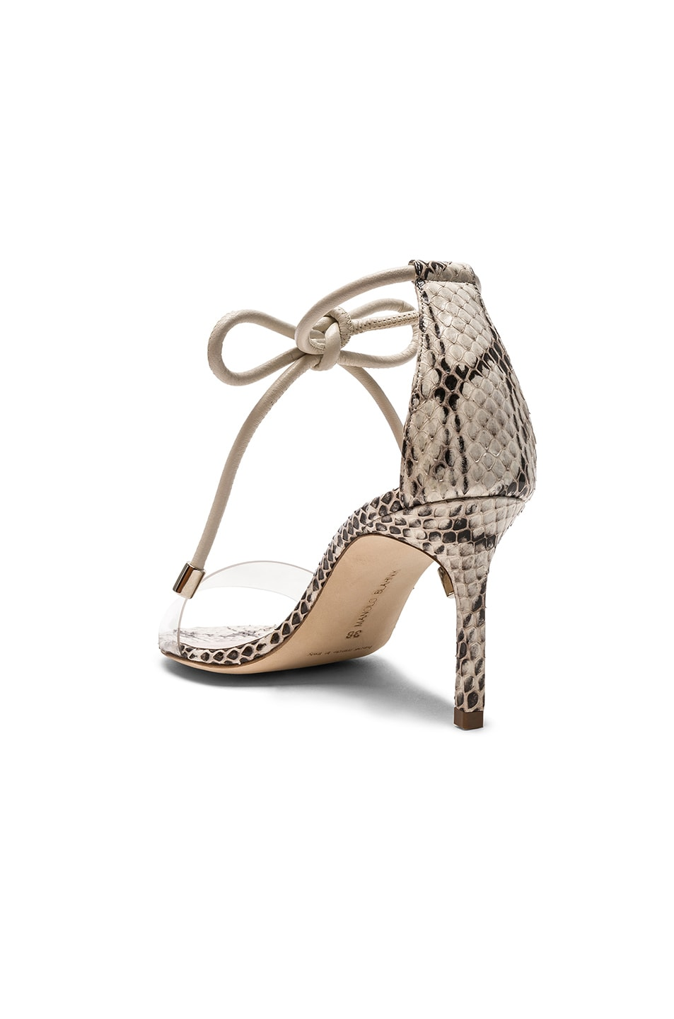 Image 3 of Manolo Blahnik Estro 70 Sandals in White & Black Natural Watersnake