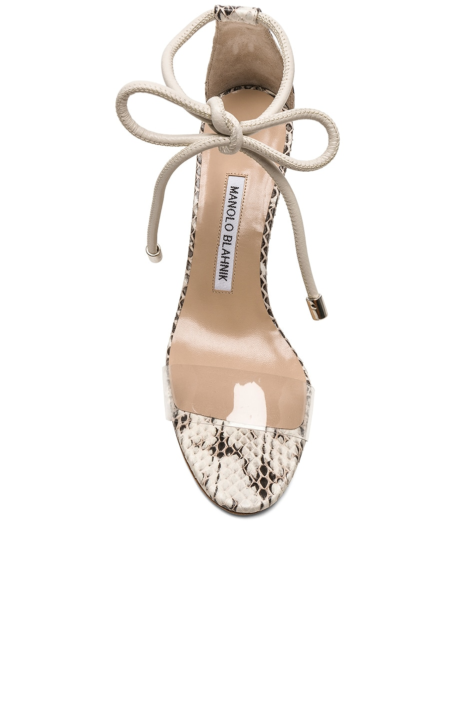 Image 4 of Manolo Blahnik Estro 70 Sandals in White & Black Natural Watersnake