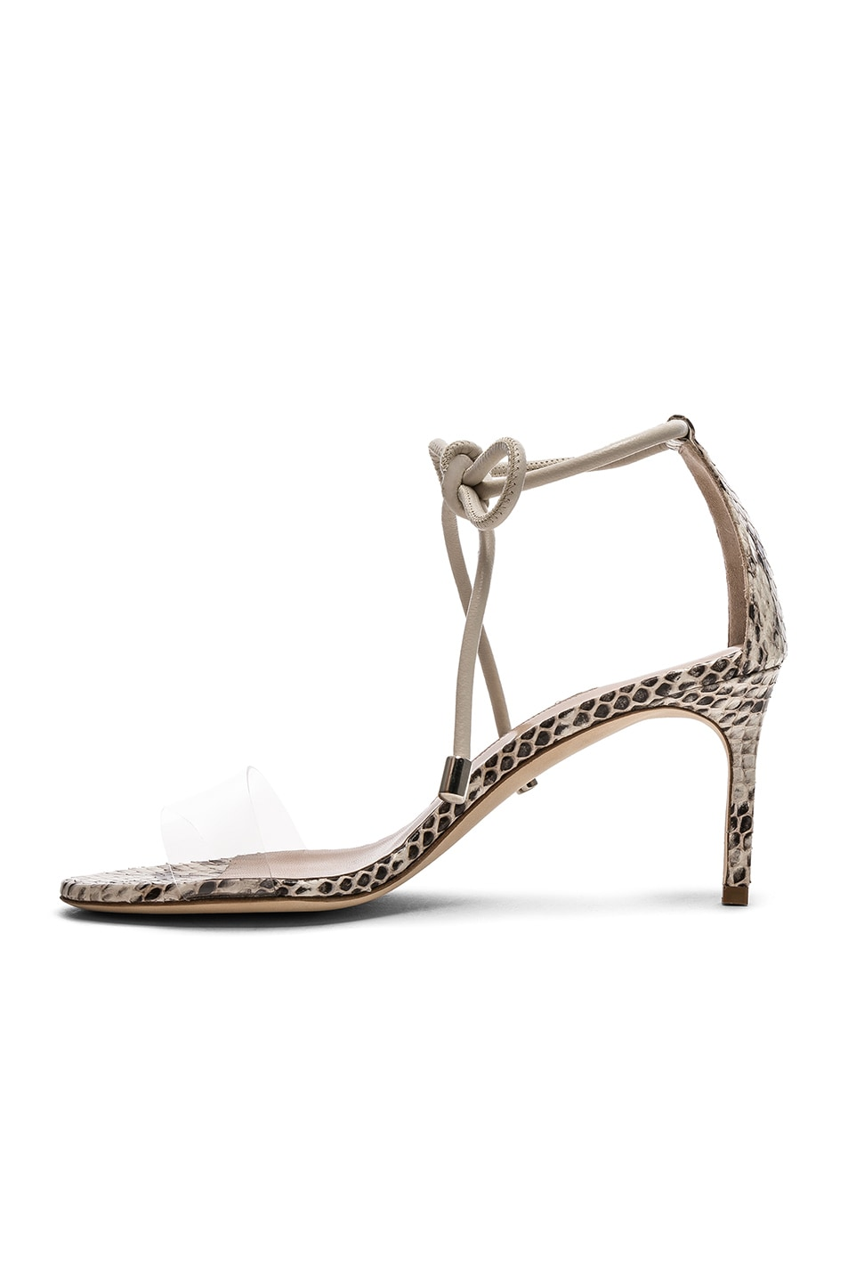Image 5 of Manolo Blahnik Estro 70 Sandals in White & Black Natural Watersnake