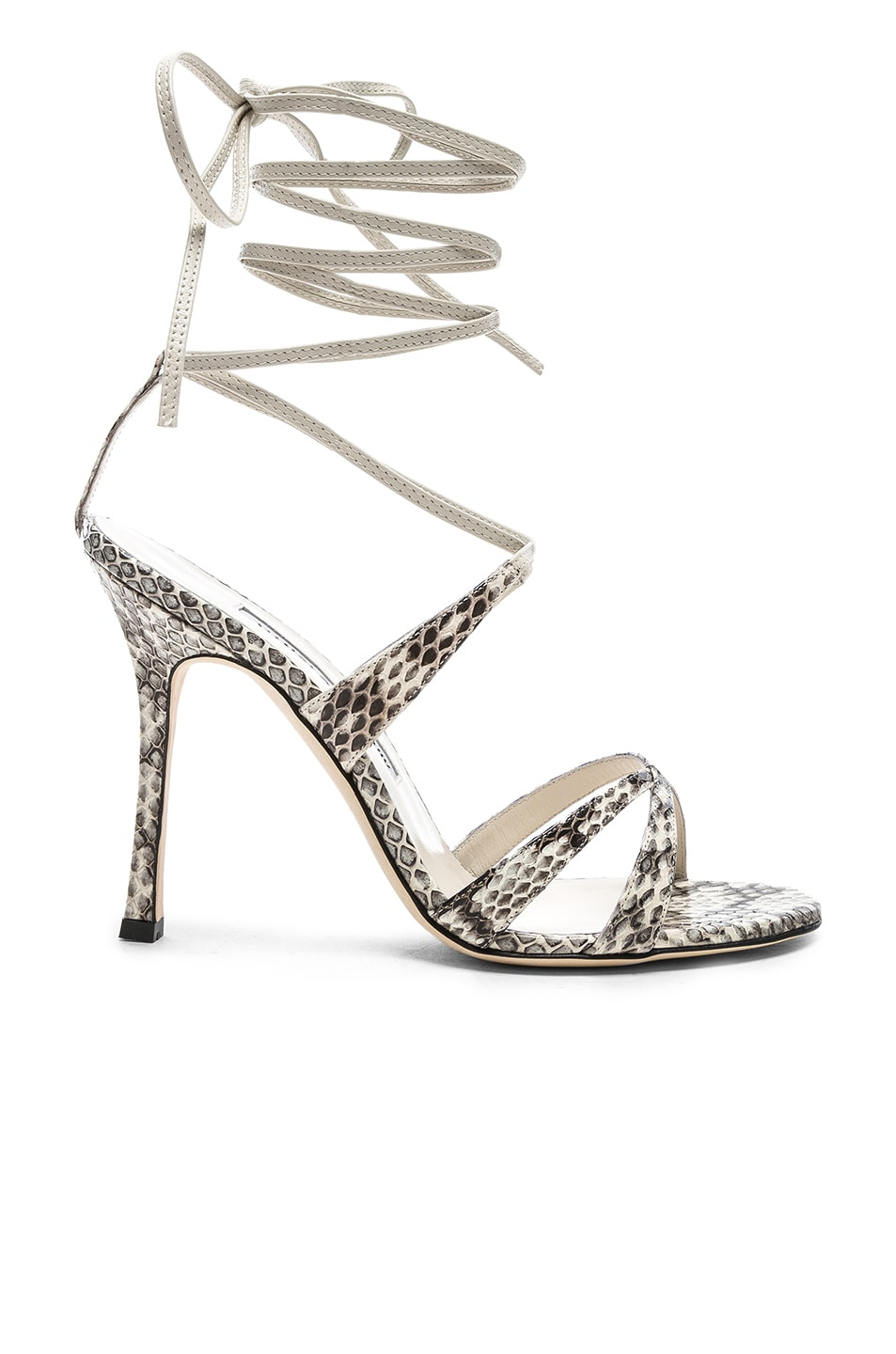 Image 1 of Manolo Blahnik Criss 105 Sandals in Black & White Natural Watersnake
