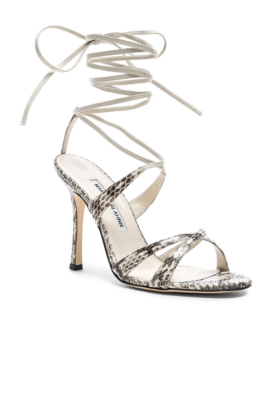 Image 2 of Manolo Blahnik Criss 105 Sandals in Black & White Natural Watersnake