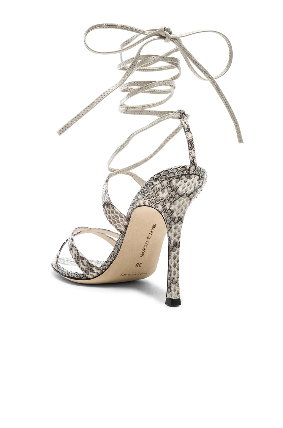 Image 3 of Manolo Blahnik Criss 105 Sandals in Black & White Natural Watersnake