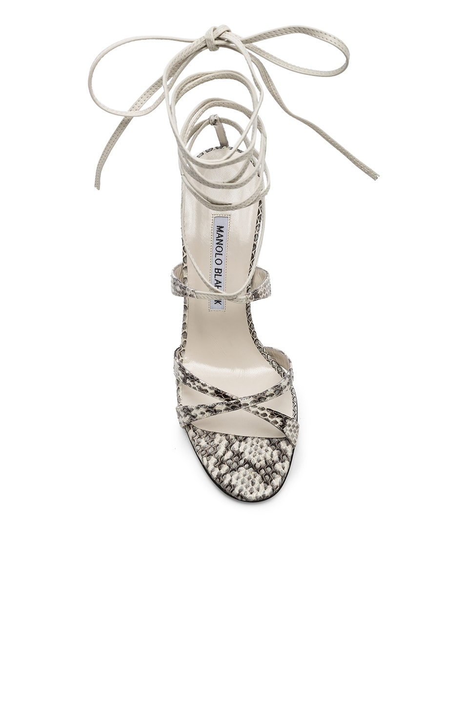 Image 4 of Manolo Blahnik Criss 105 Sandals in Black & White Natural Watersnake