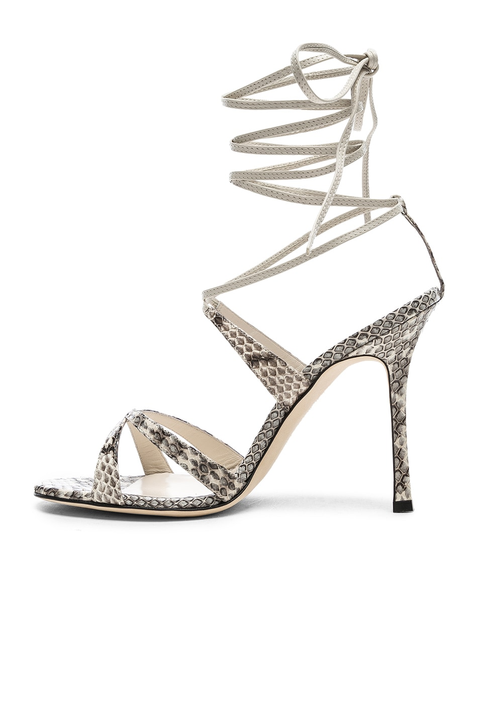 Image 5 of Manolo Blahnik Criss 105 Sandals in Black & White Natural Watersnake