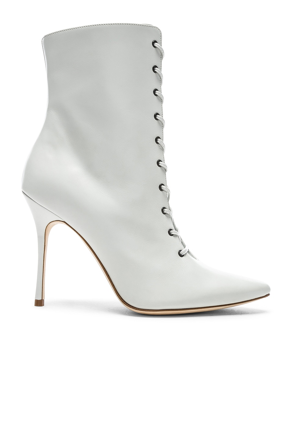 Image 1 of Manolo Blahnik Leather Bordin Booties in White
