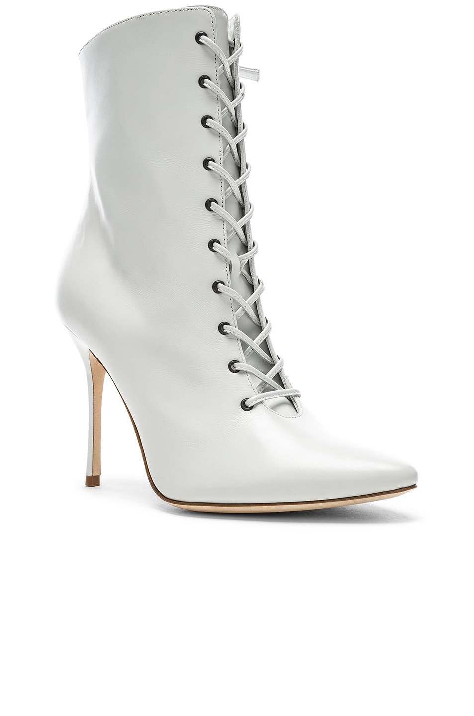 Image 2 of Manolo Blahnik Leather Bordin Booties in White