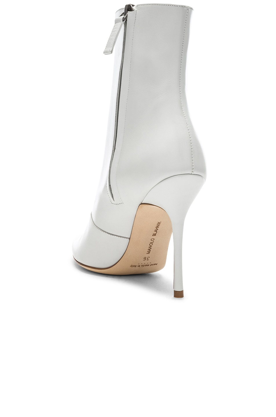 Image 3 of Manolo Blahnik Leather Bordin Booties in White