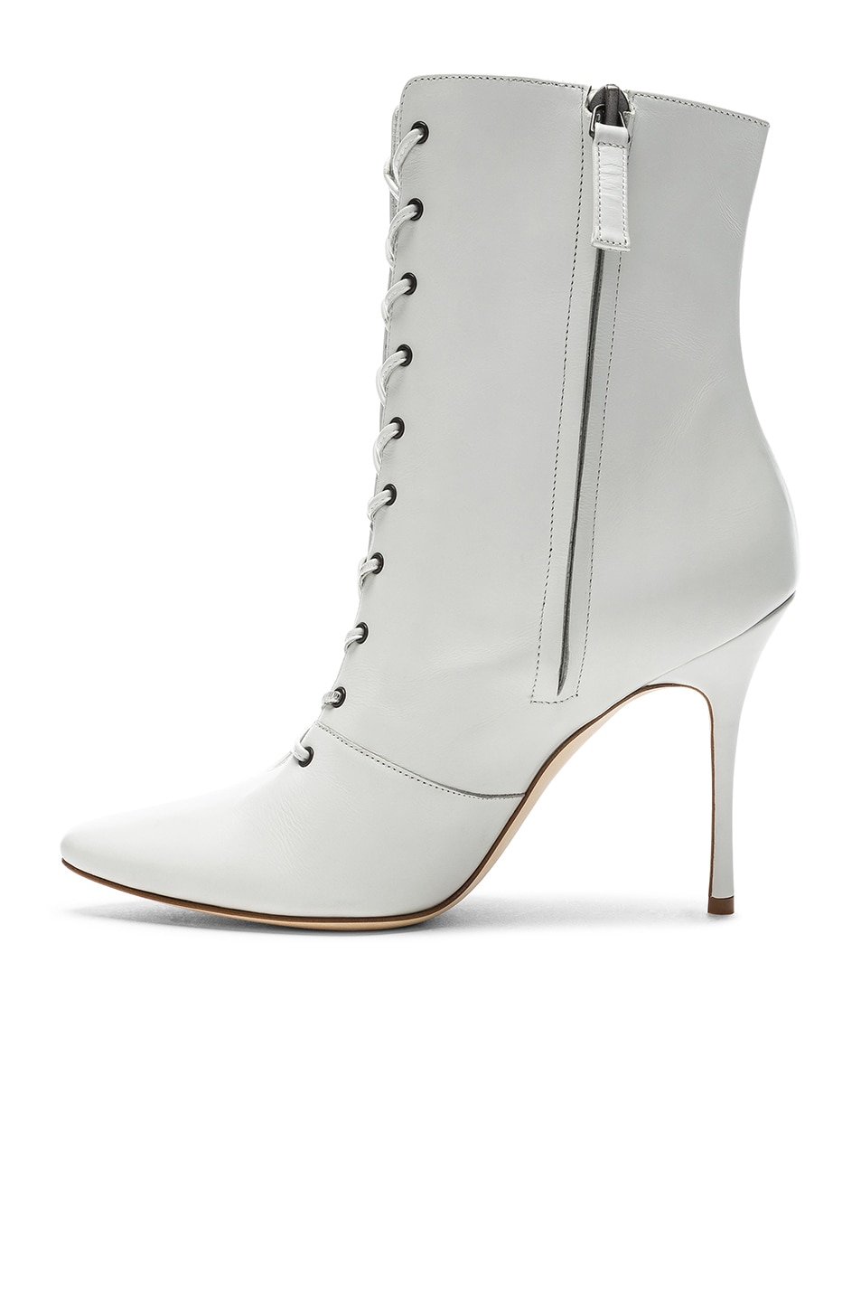 Image 5 of Manolo Blahnik Leather Bordin Booties in White