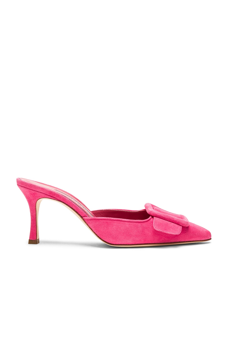 Image 1 of Manolo Blahnik Suede Maysale 70 Mule in Bright Pink