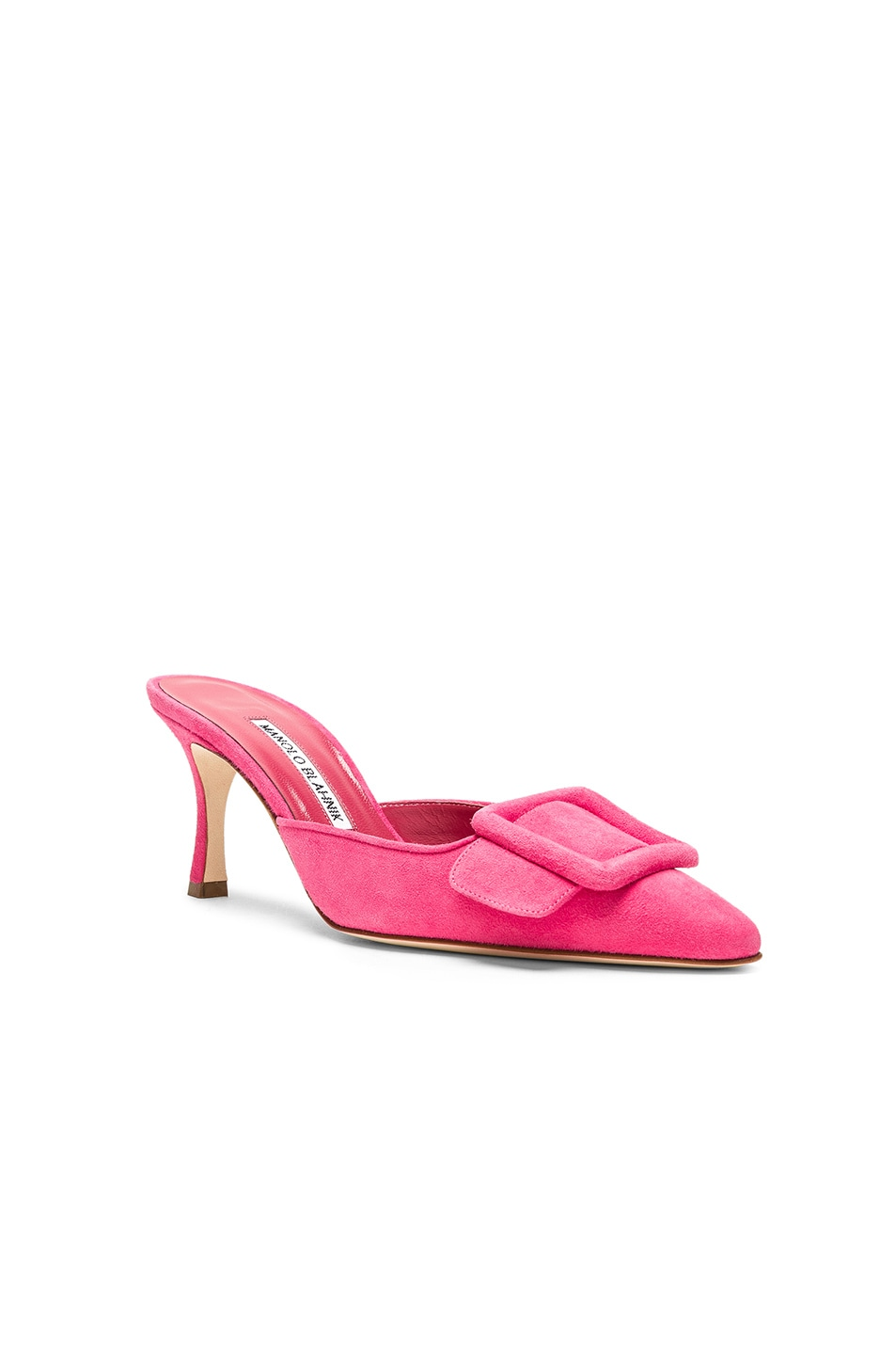 Image 2 of Manolo Blahnik Suede Maysale 70 Mule in Bright Pink