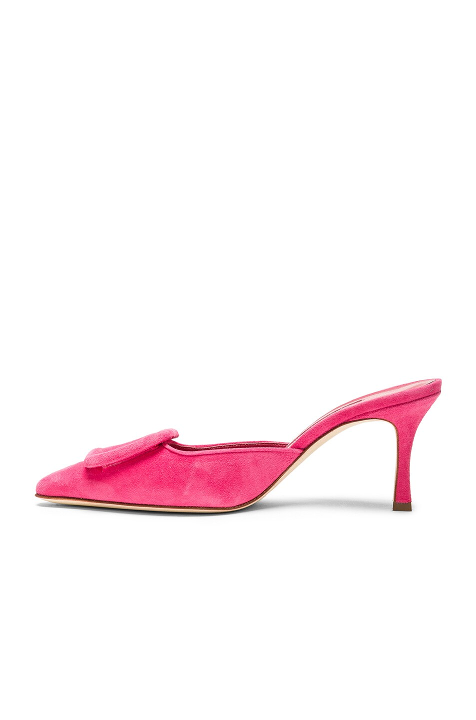 Image 5 of Manolo Blahnik Suede Maysale 70 Mule in Bright Pink