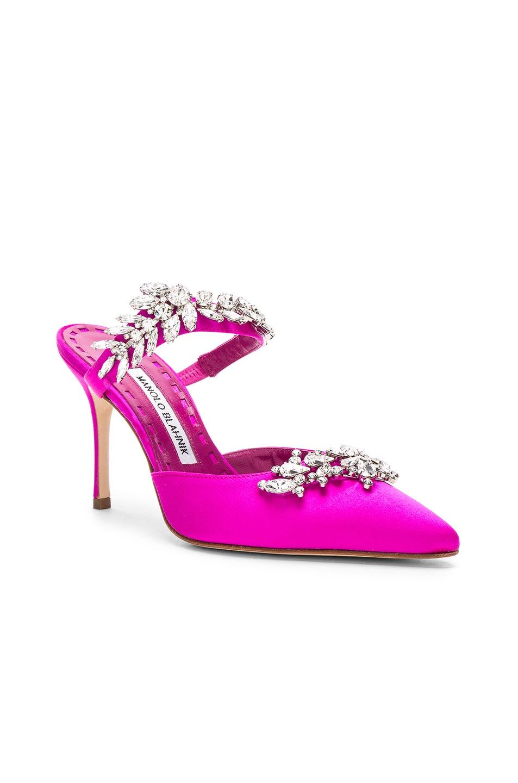 Image 2 of Manolo Blahnik Satin Lurum 90 Heels in Bright Pink