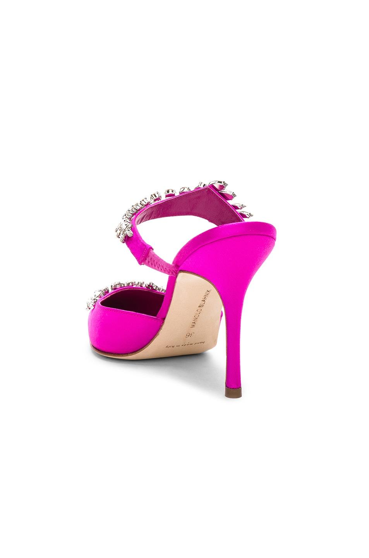 Image 3 of Manolo Blahnik Satin Lurum 90 Heels in Bright Pink