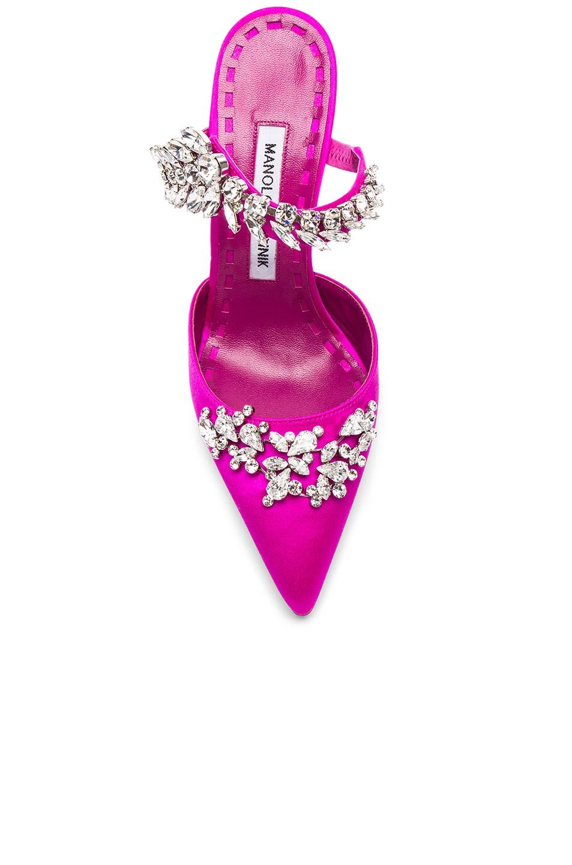 Image 4 of Manolo Blahnik Satin Lurum 90 Heels in Bright Pink