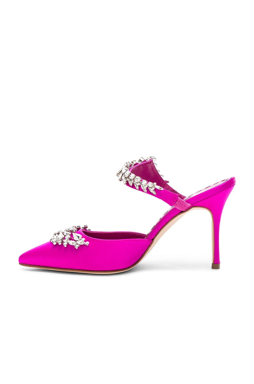 Image 5 of Manolo Blahnik Satin Lurum 90 Heels in Bright Pink