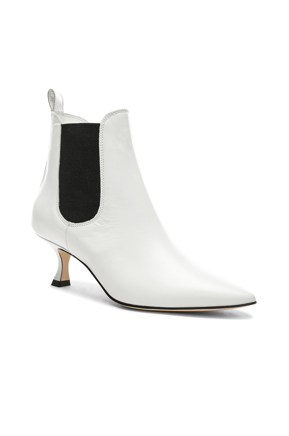 Image 2 of Manolo Blahnik Leather Chelsa 50 Boots in White