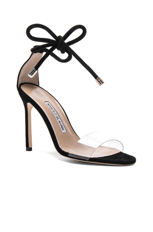 Image 2 of Manolo Blahnik Suede Estro 105 Sandals in Black Suede