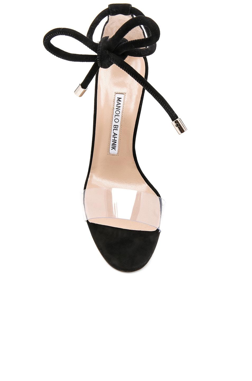 Image 4 of Manolo Blahnik Suede Estro 105 Sandals in Black Suede