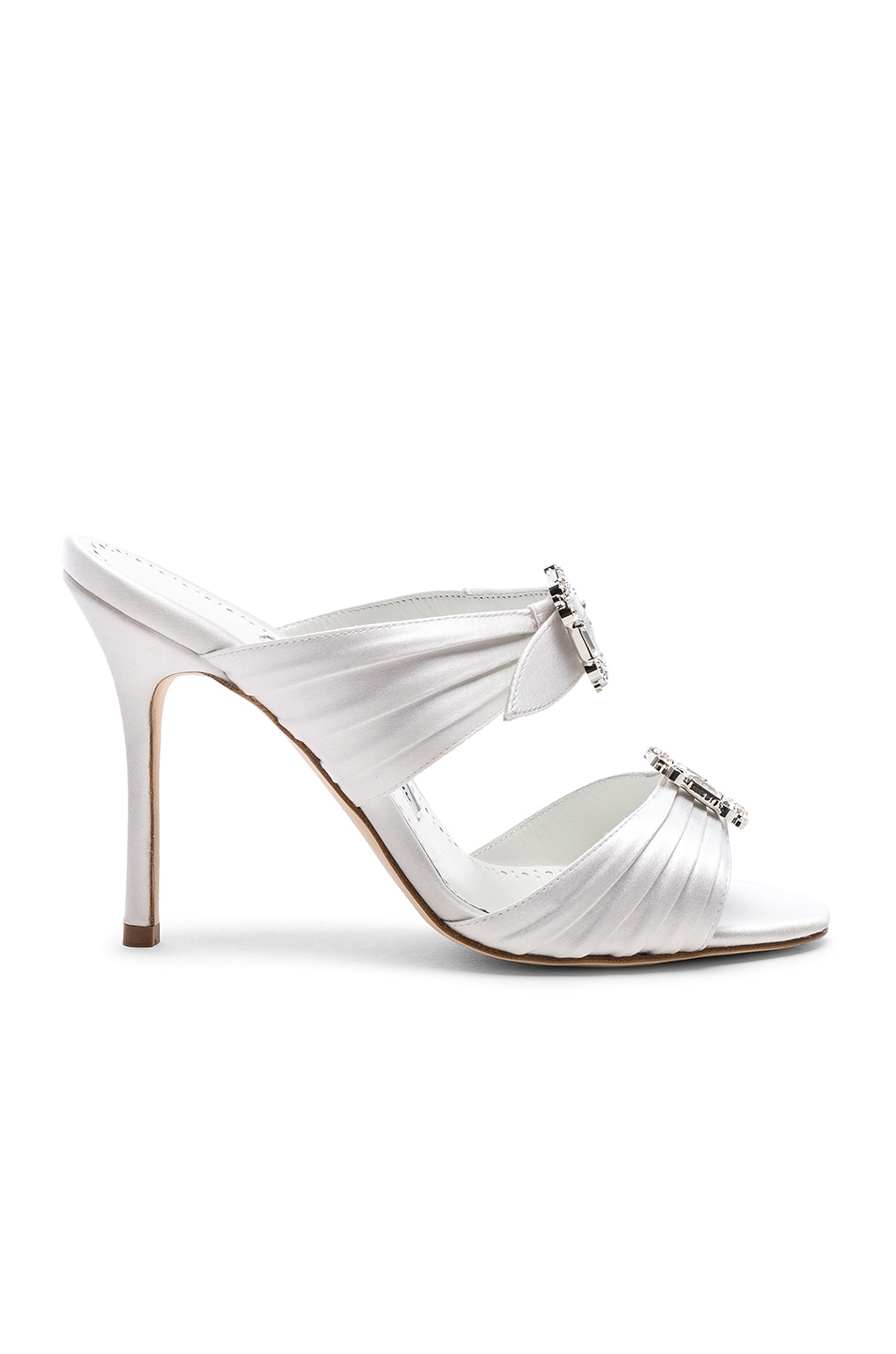 Image 1 of Manolo Blahnik Satin Pow 105 Sandals in White
