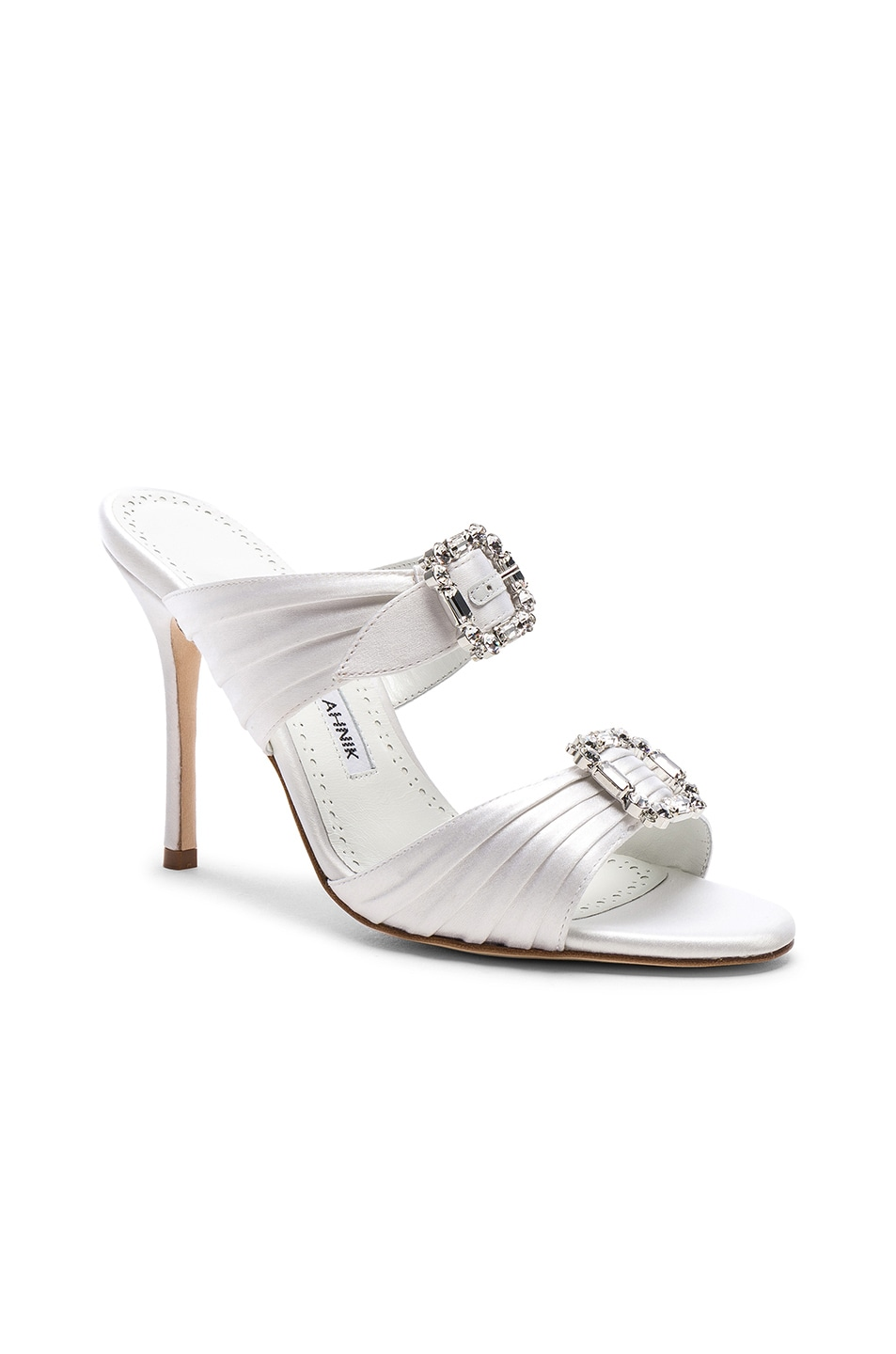 Image 2 of Manolo Blahnik Satin Pow 105 Sandals in White