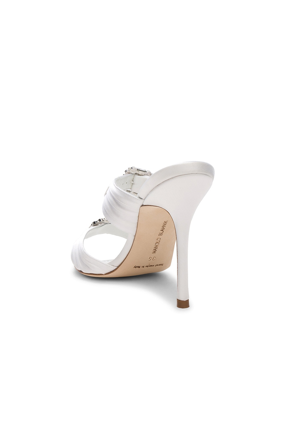 Image 3 of Manolo Blahnik Satin Pow 105 Sandals in White