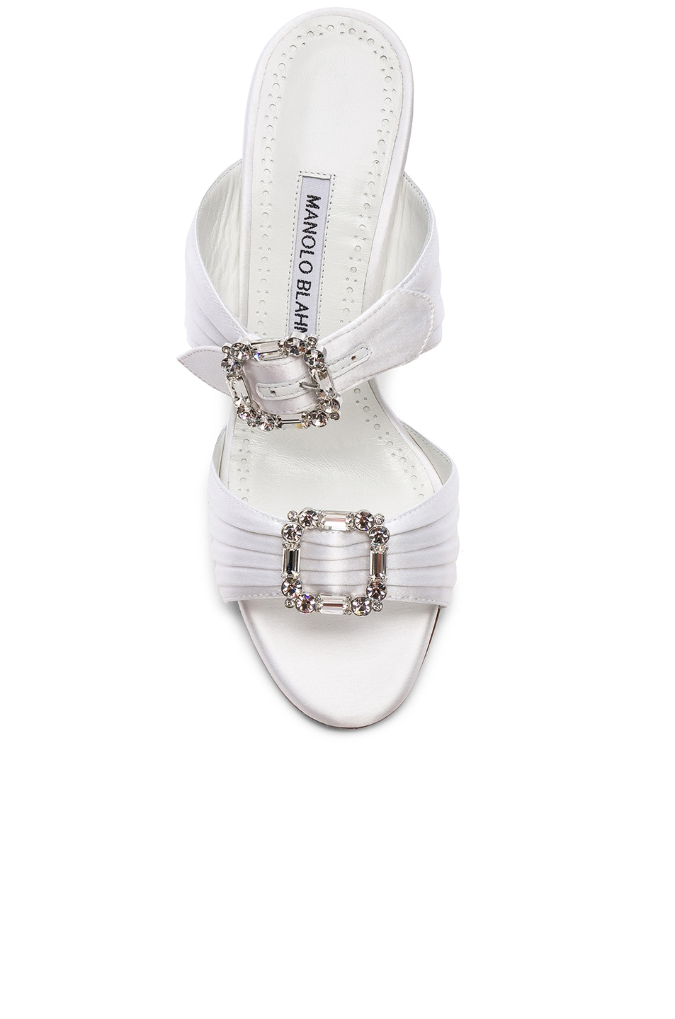 Image 4 of Manolo Blahnik Satin Pow 105 Sandals in White