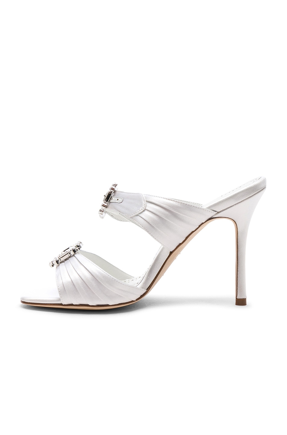 Image 5 of Manolo Blahnik Satin Pow 105 Sandals in White