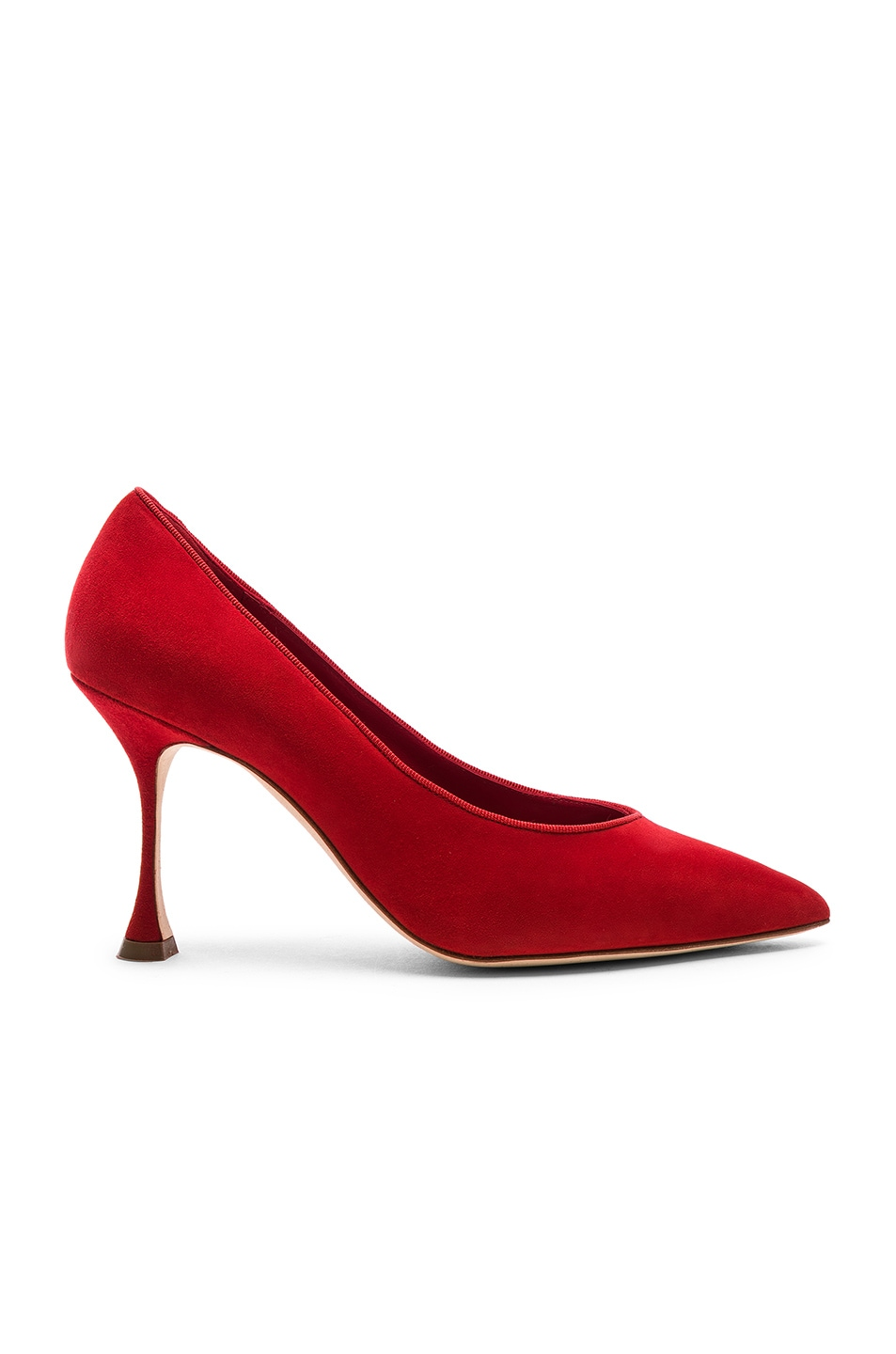 Image 1 of Manolo Blahnik Suede Urgenzapla Heels in Red
