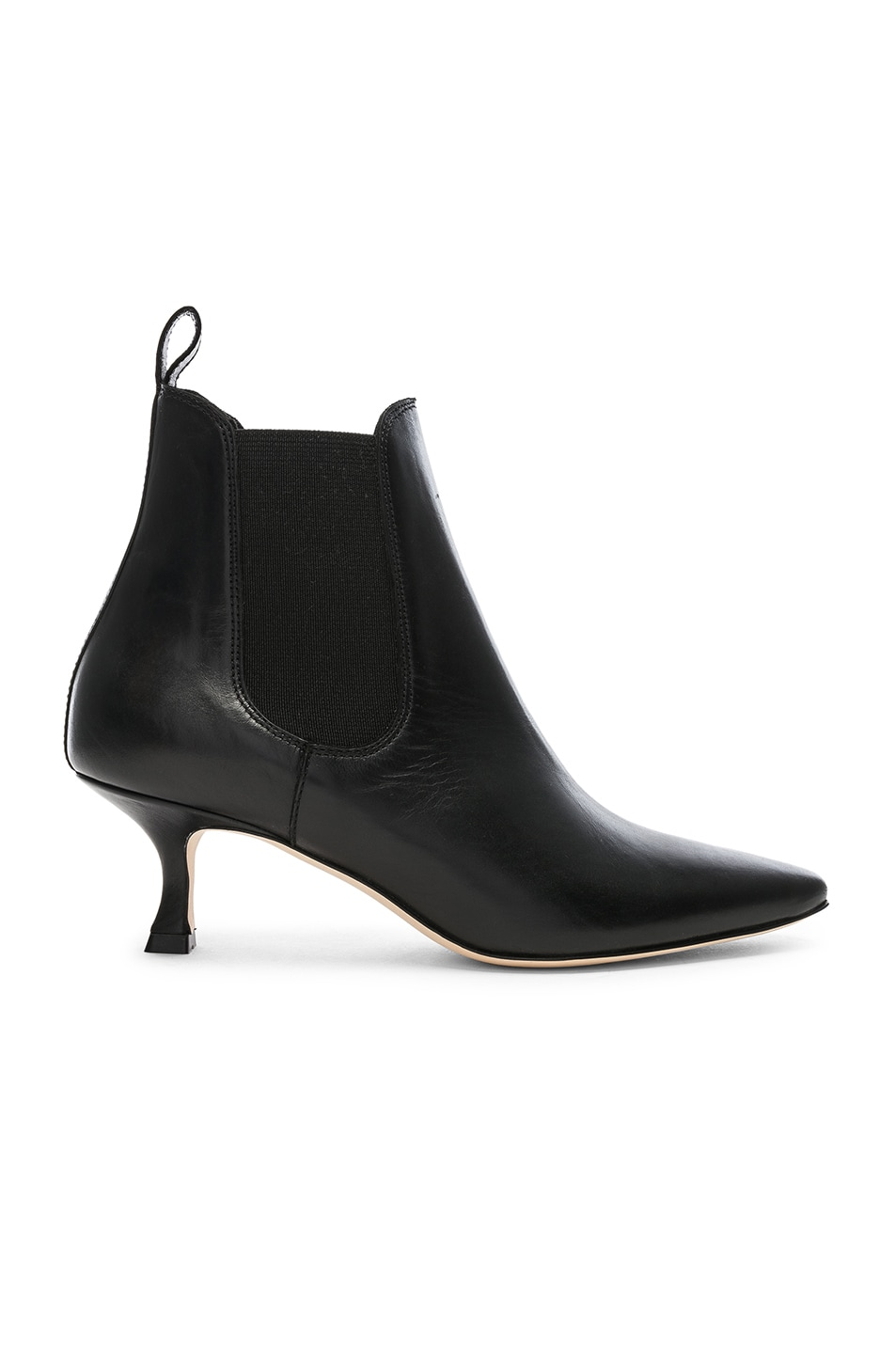 Image 1 of Manolo Blahnik Leather Chelsa 50 Boots in Black