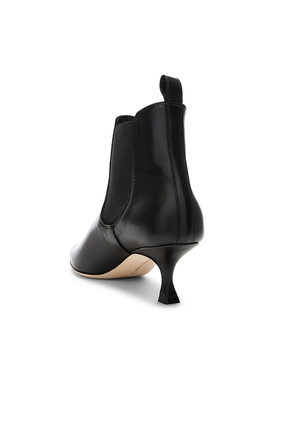 Image 3 of Manolo Blahnik Leather Chelsa 50 Boots in Black