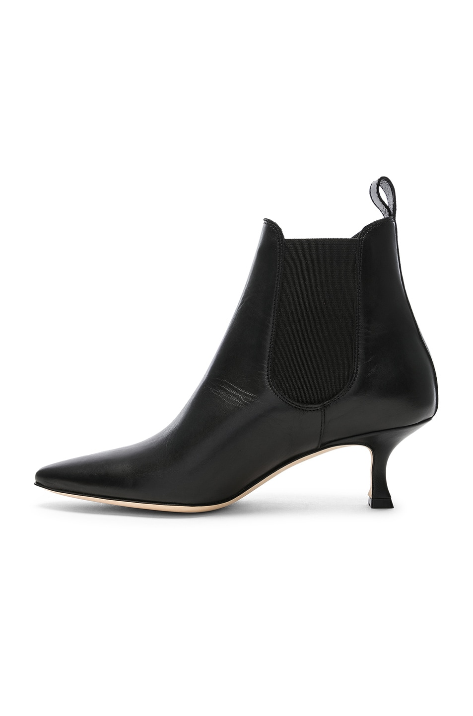 Image 5 of Manolo Blahnik Leather Chelsa 50 Boots in Black