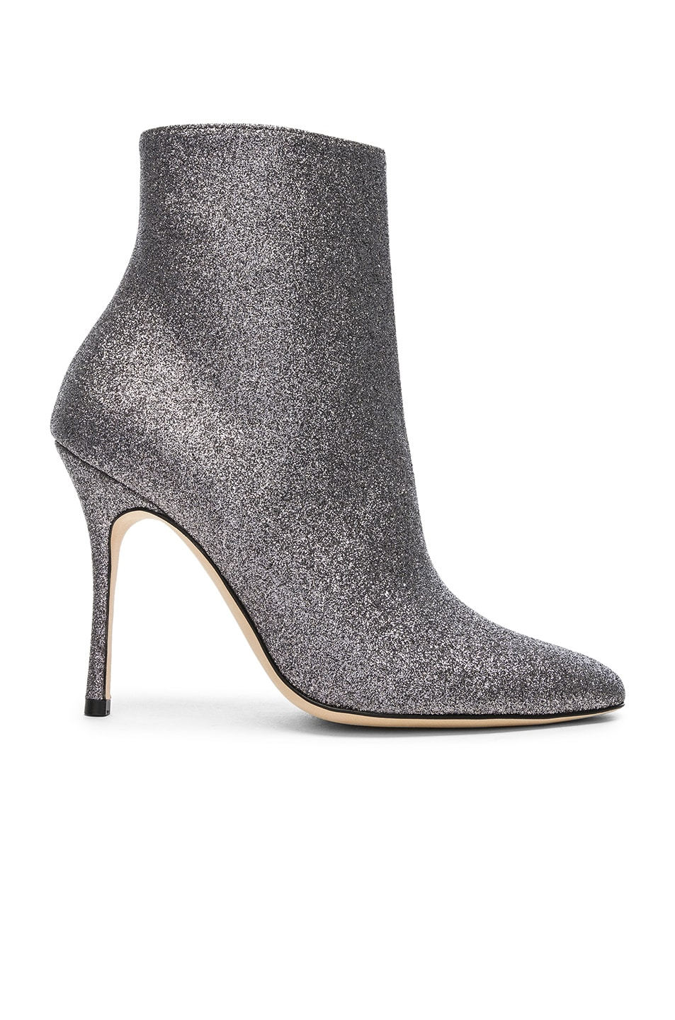 Image 1 of Manolo Blahnik Glitter Insopo 105 Boots in Anthracite