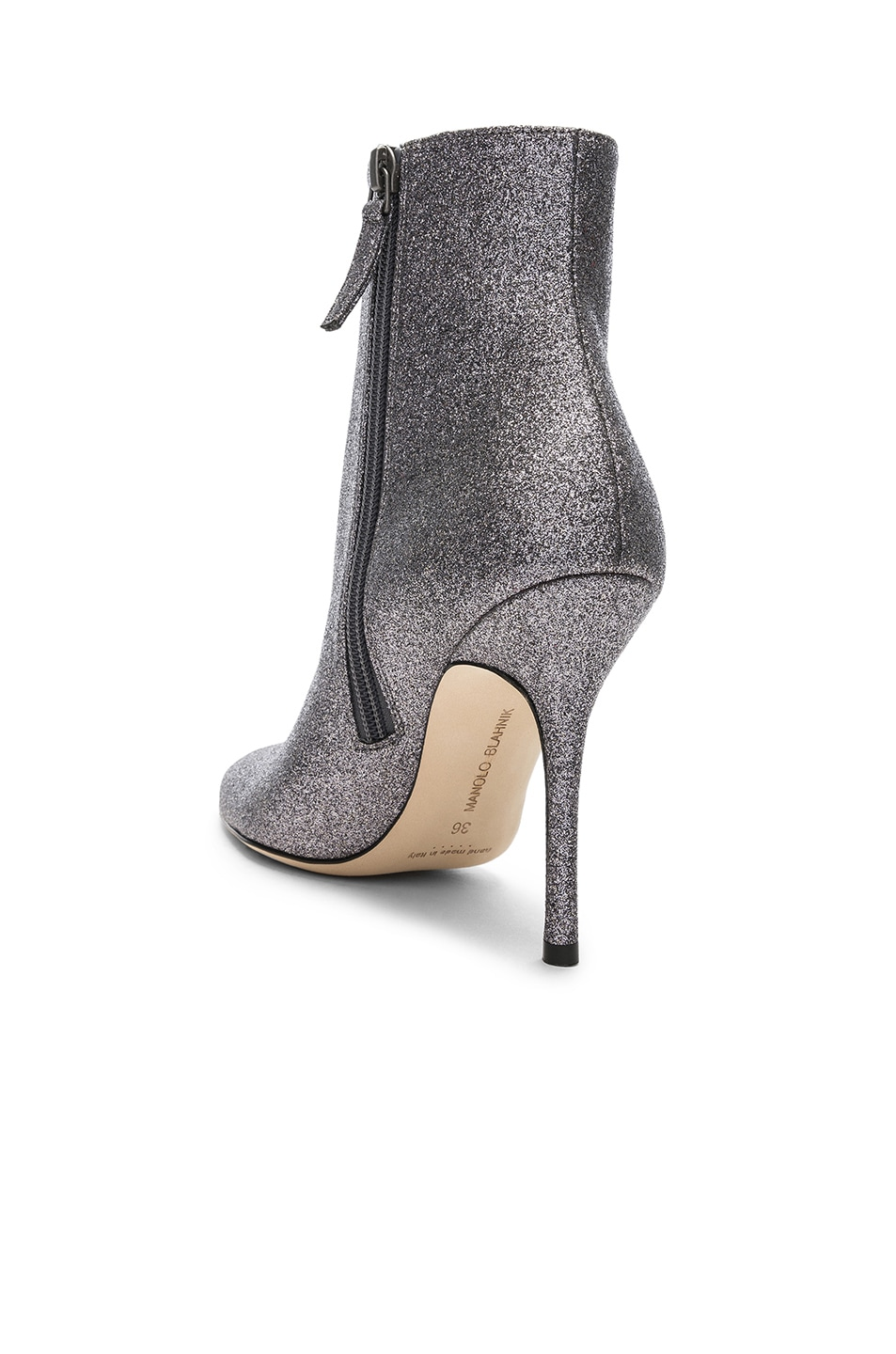 Image 3 of Manolo Blahnik Glitter Insopo 105 Boots in Anthracite