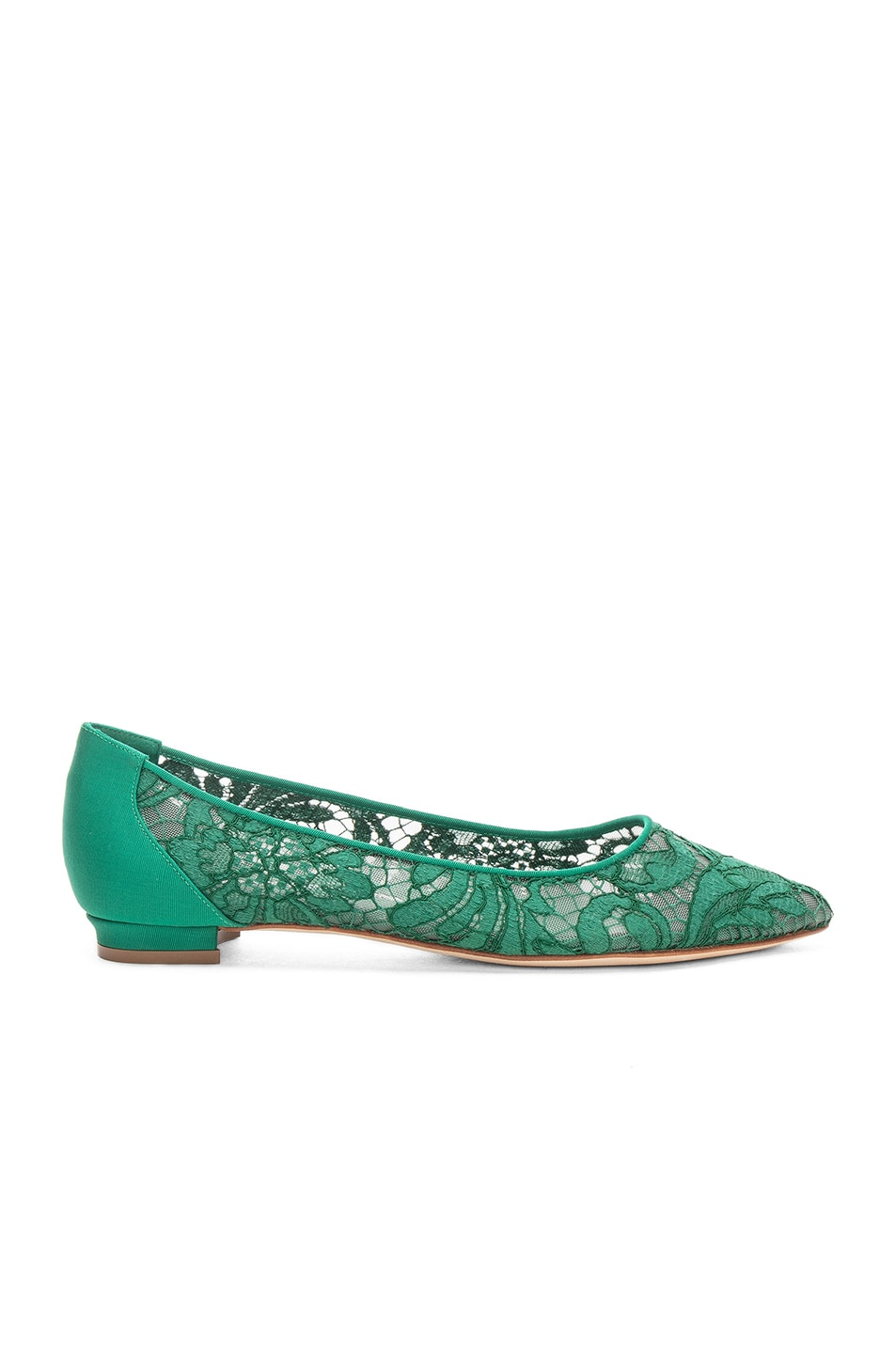 Image 1 of Manolo Blahnik Tittola Lace 10 Pea Flat in Emerald Green Marescot