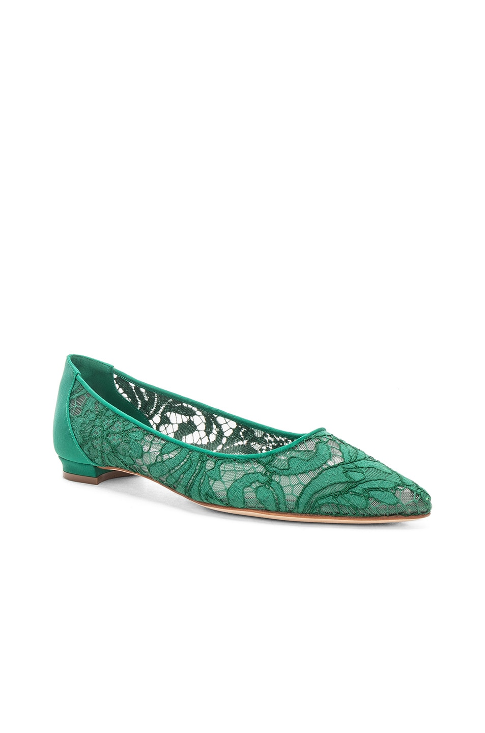 Image 2 of Manolo Blahnik Tittola Lace 10 Pea Flat in Emerald Green Marescot