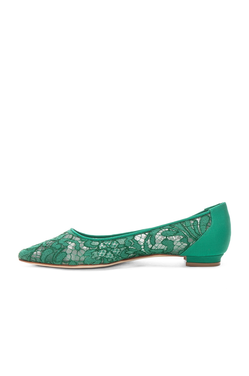Image 5 of Manolo Blahnik Tittola Lace 10 Pea Flat in Emerald Green Marescot