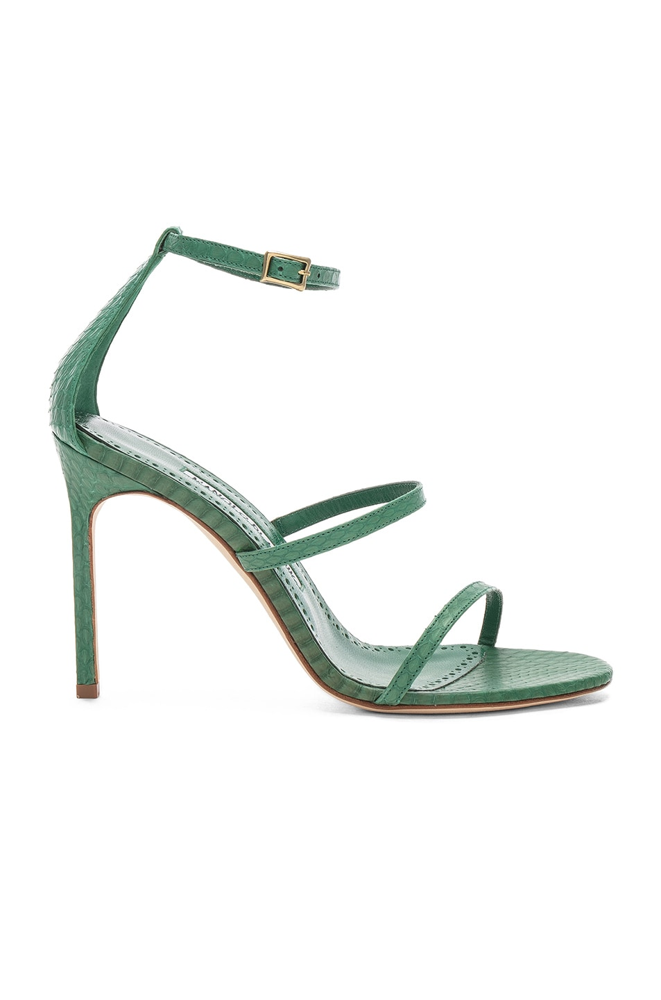 Image 1 of Manolo Blahnik Piona Matte Snake 105 Heel in Green