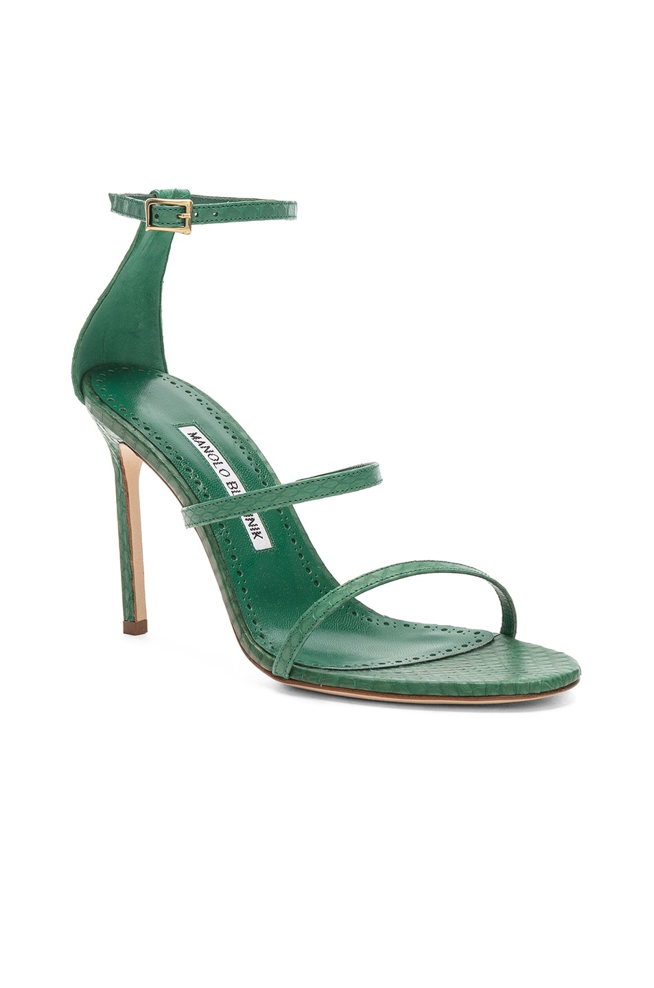 Image 2 of Manolo Blahnik Piona Matte Snake 105 Heel in Green
