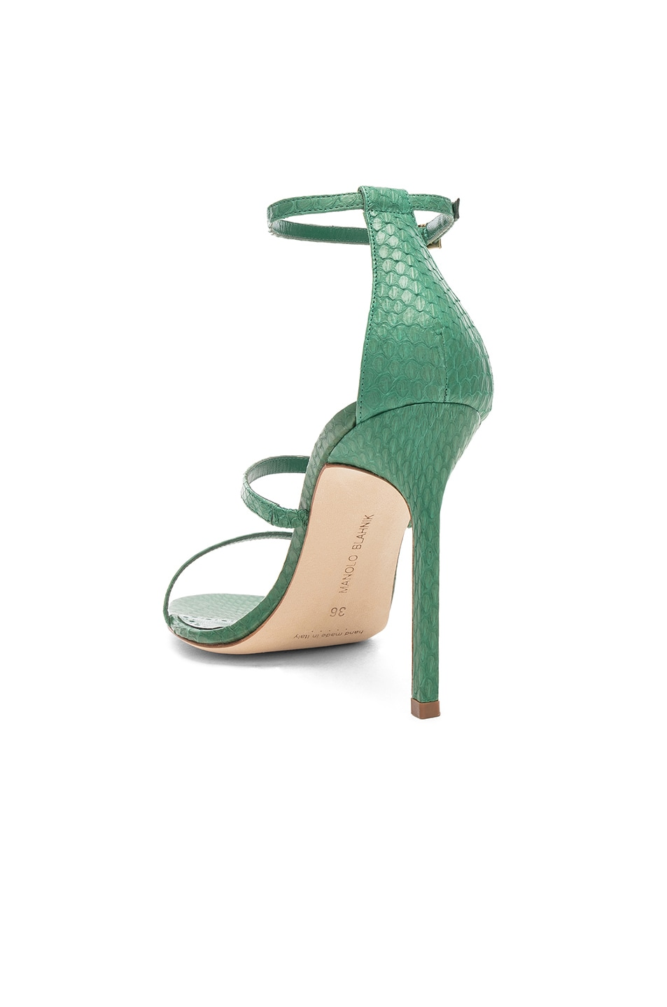 Image 3 of Manolo Blahnik Piona Matte Snake 105 Heel in Green