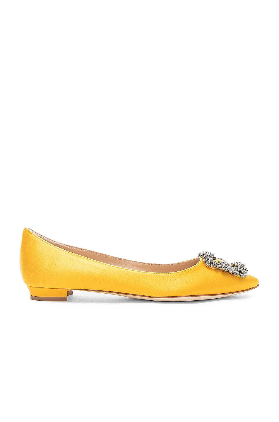 Image 1 of Manolo Blahnik Hangisiflat Satin 10 Pea Flat in Yellow