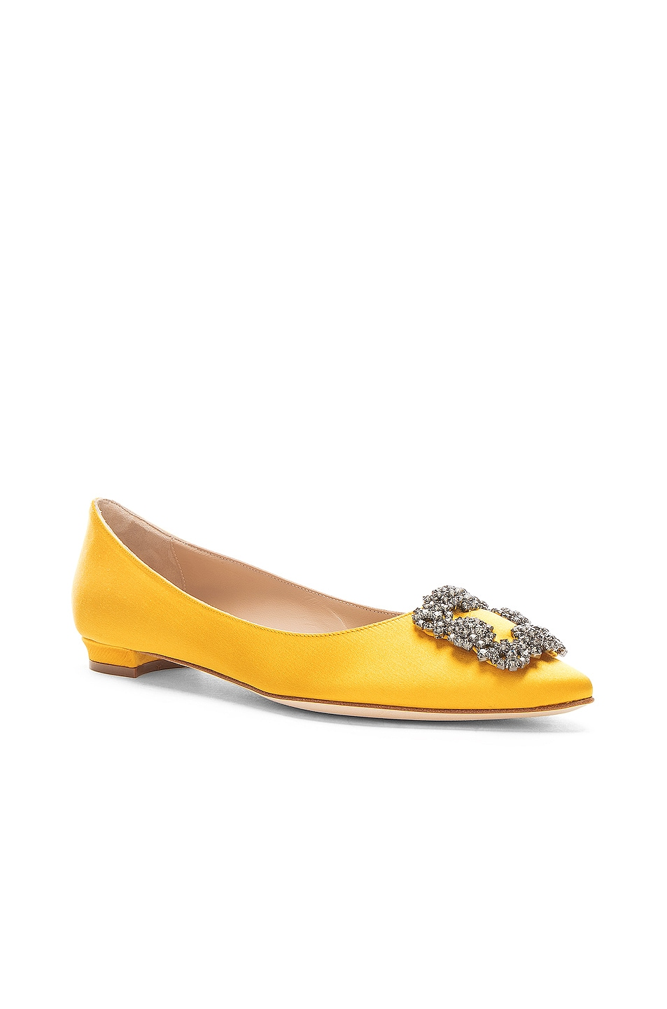 Image 2 of Manolo Blahnik Hangisiflat Satin 10 Pea Flat in Yellow