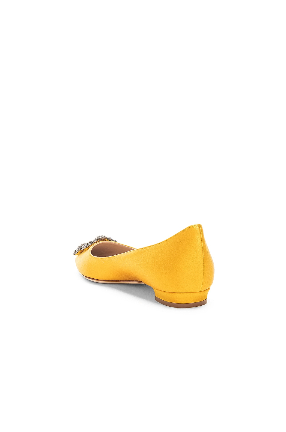 Image 3 of Manolo Blahnik Hangisiflat Satin 10 Pea Flat in Yellow