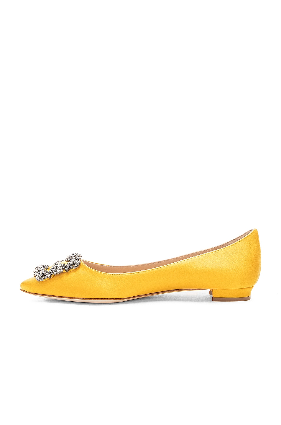 Image 5 of Manolo Blahnik Hangisiflat Satin 10 Pea Flat in Yellow