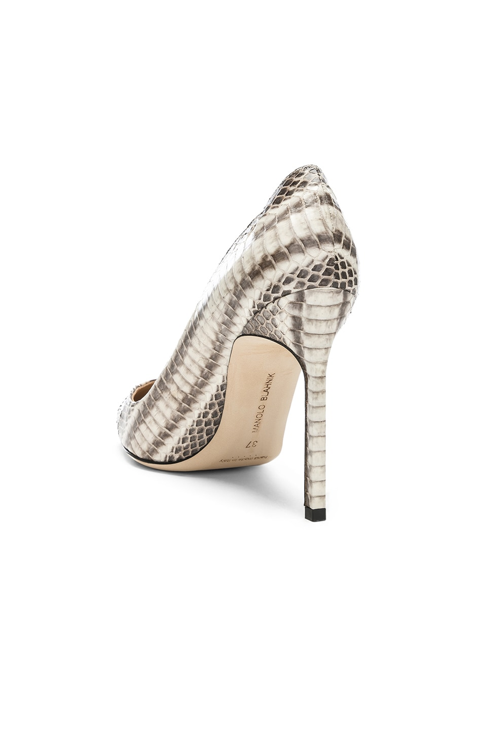 Image 3 of Manolo Blahnik BB Watersnake 105 Heel in Black & White