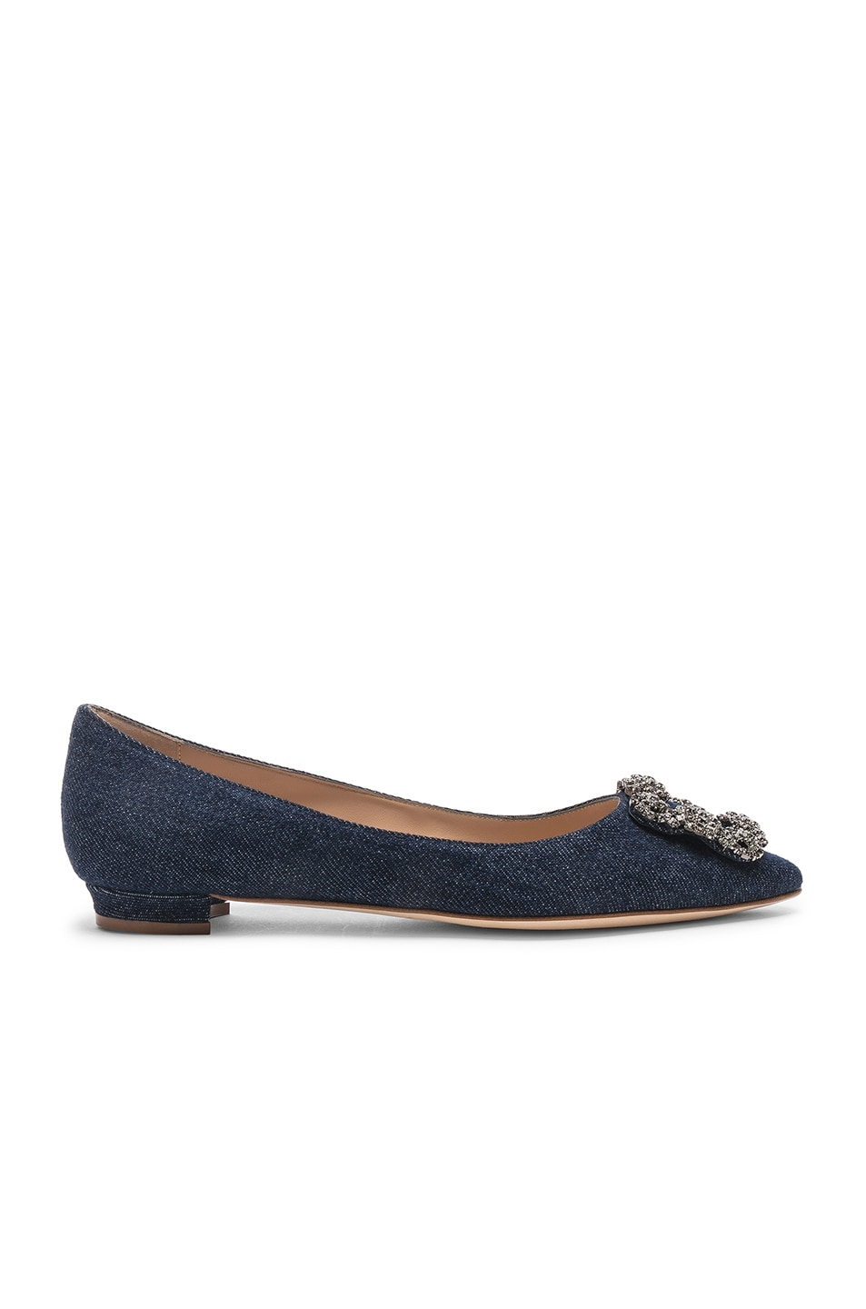 Image 1 of Manolo Blahnik Hangisiflat 10 Pea Flat in Jeans Delave